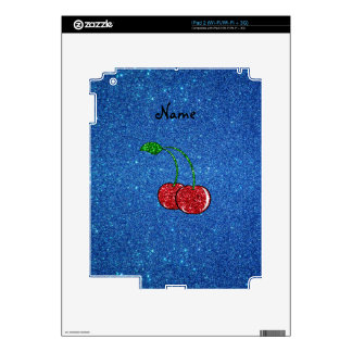 Personalized name red glitter cherry blue glitter iPad 2 skin