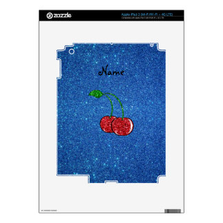 Personalized name red glitter cherry blue glitter iPad 3 decal