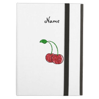 Personalized name red glitter cherry iPad air case