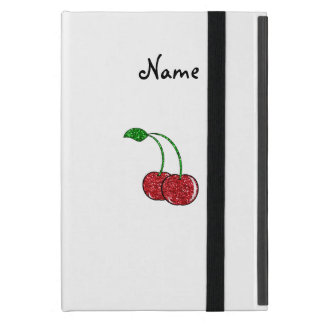 Personalized name red glitter cherry iPad mini cases