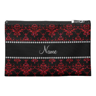 Personalized name red glitter damask travel accessory bags