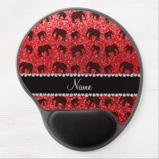 Personalized name red glitter elephants gel mouse pad