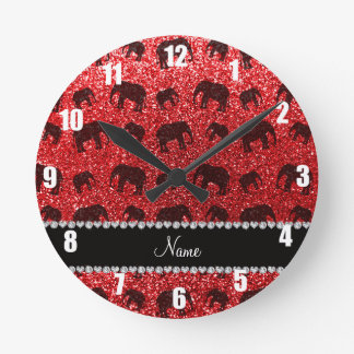 Personalized name red glitter elephants round clock
