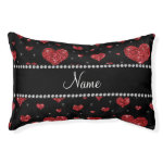 Personalized name red glitter hearts small dog bed