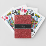 Personalized name red glitter bicycle playing cards