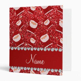 Personalized name red glitter santas binder