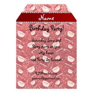 Personalized name red glitter santas 5x7 paper invitation card