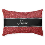 Personalized name red glitter small dog bed