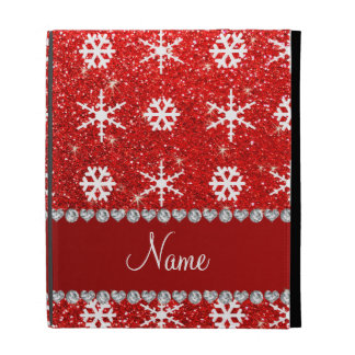 Personalized name red glitter white snowflakes iPad folio cases