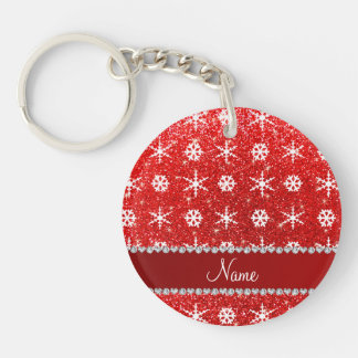 Personalized name red glitter white snowflakes keychain