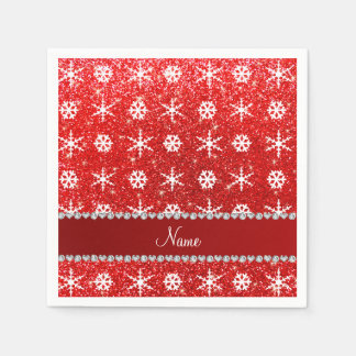 Personalized name red glitter white snowflakes paper napkins