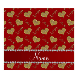 Personalized name red gold hearts mom love poster