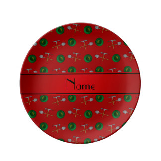 Personalized name red gold mining porcelain plate