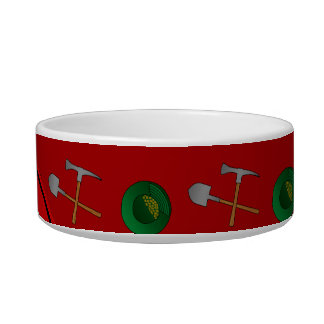 Personalized name red gold mining pet food bowls