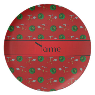 Personalized name red gold mining party plate