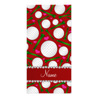 Personalized name red golf balls tees hearts photo card