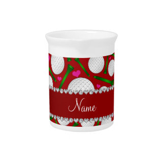 Personalized name red golf balls tees hearts pitchers