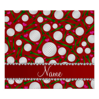 Personalized name red golf balls tees hearts poster