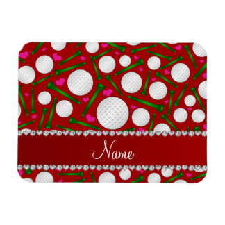 Personalized name red golf balls tees hearts rectangular photo magnet