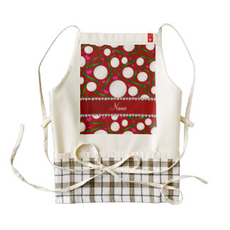 Personalized name red golf balls tees hearts zazzle HEART apron