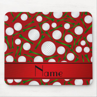 Personalized name red golf balls tees mouse pads
