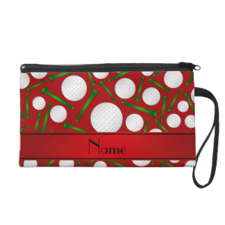 Personalized name red golf balls tees wristlet purse