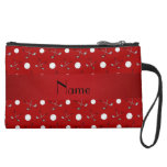 Personalized name red golf balls wristlet purses