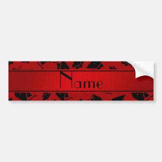 Personalized name red graduation cap bumper sticker
