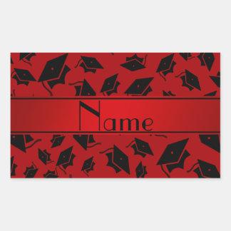 Personalized name red graduation cap rectangular sticker