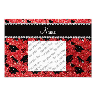 Personalized name red graduation hearts bows photo print
