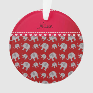 Personalized name red grey elephants