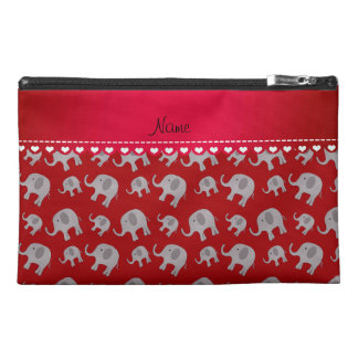Personalized name red grey elephants travel accessory bag