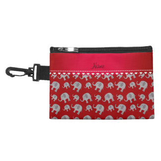Personalized name red grey elephants accessory bag
