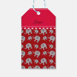 Personalized name red grey elephants gift tags