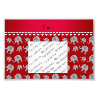Personalized name red grey elephants photo print