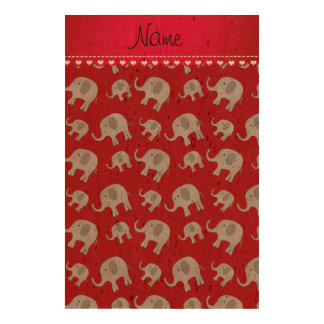Personalized name red grey elephants cork paper print