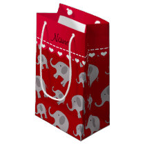 Personalized name red grey elephants small gift bag