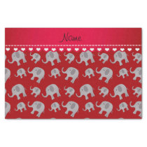 Personalized name red grey elephants tissue paper