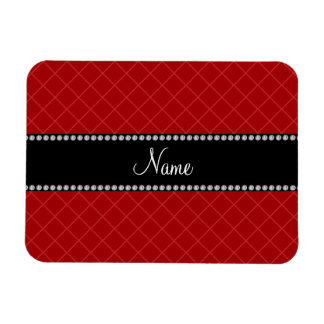 Personalized name red grid pattern rectangular magnets