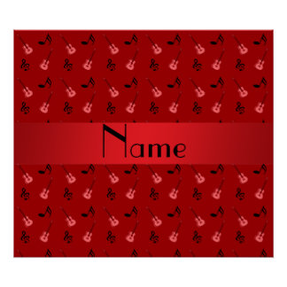 Personalized name red guitar pattern poster