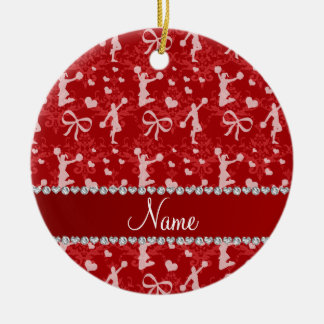Personalized name red gymnastics damask ceramic ornament