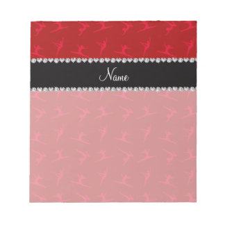 Personalized name red gymnastics pattern memo pads