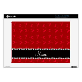 Personalized name red gymnastics pattern skin for acer chromebook