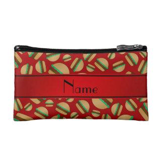 Personalized name red hamburger pattern makeup bag