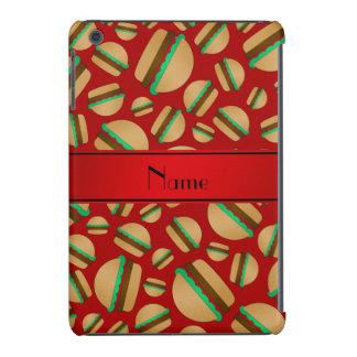 Personalized name red hamburger pattern iPad mini retina cases