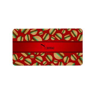 Personalized name red hamburger pattern personalized address label