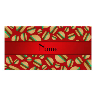 Personalized name red hamburger pattern photo card template