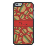 Personalized name red hamburger pattern carved® maple iPhone 6 case