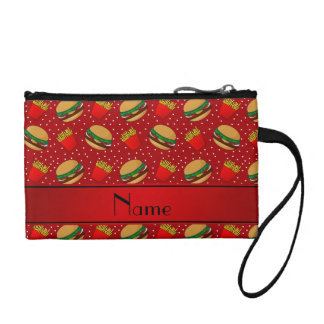 Personalized name red hamburgers fries dots change purse