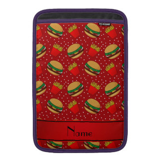 Personalized name red hamburgers fries dots MacBook sleeve
